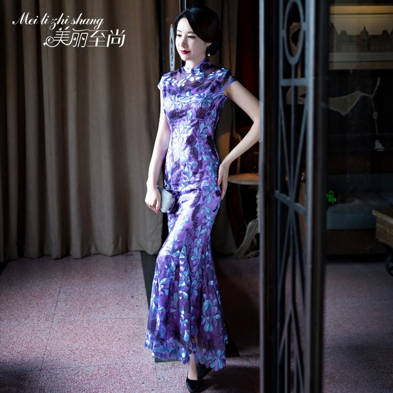 Embroidery Lace Qipao Cheongsam Chinese Fishtail Dress