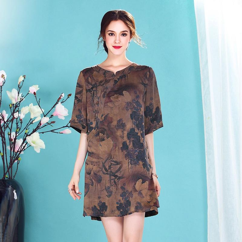 Pretty Ink Print Scoop Neck Silk Cheongsam Qipao Dress