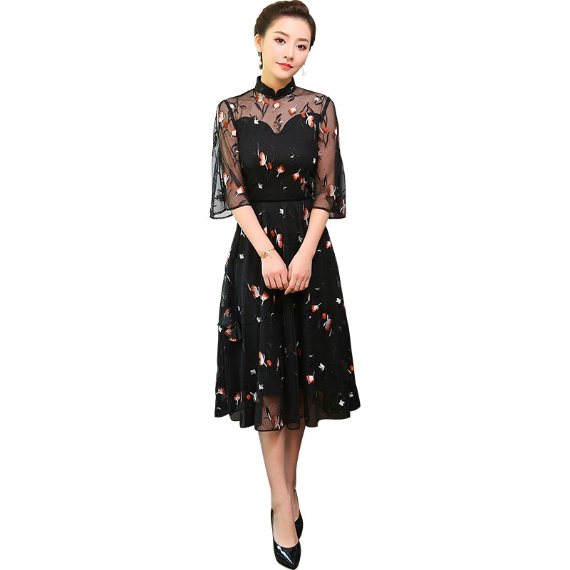Modern Black Lace Qipao Cheongsam Style Dress
