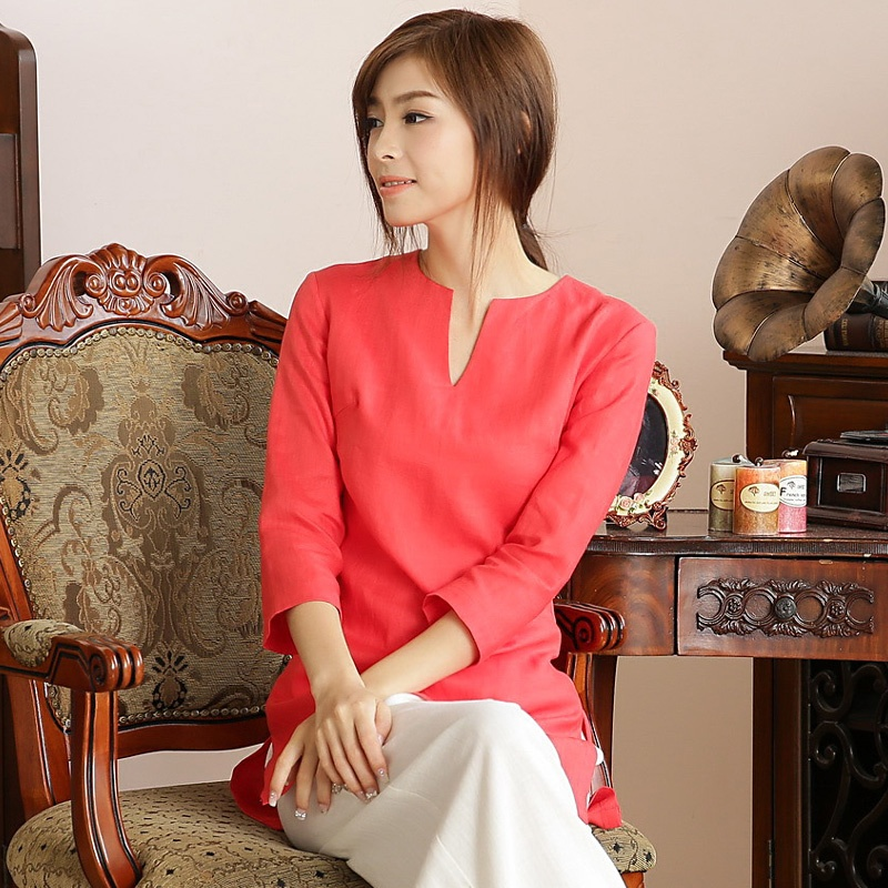 Nice V-Neck 3/4 Sleeve Mandarin Style Shirt - Red
