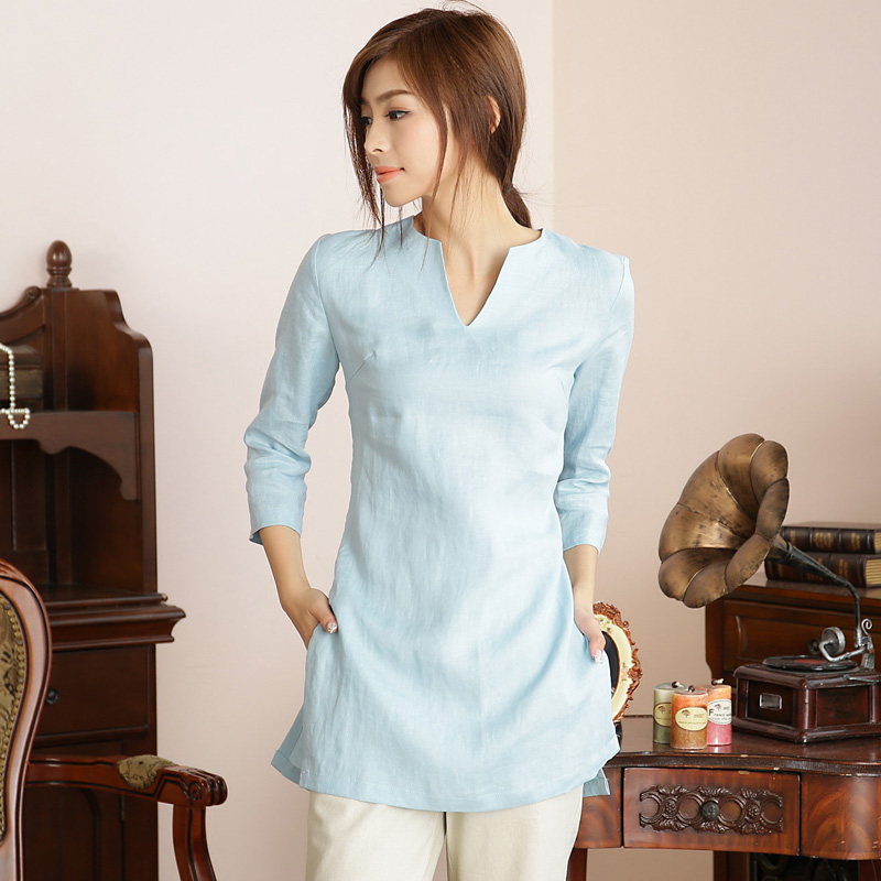 Nice V-Neck 3/4 Sleeve Mandarin Style Shirt - Blue