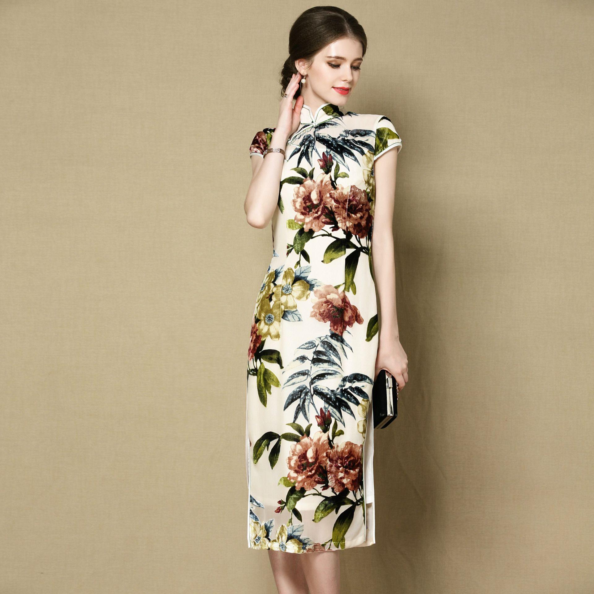 Winsome Floral Print Cap Sleeve Cheongsam Qipao Dress