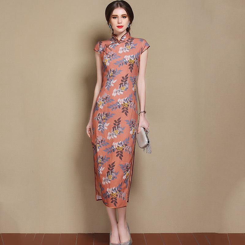 Charming Print Mid-calf Chinese Qipao Cheongsam Dress