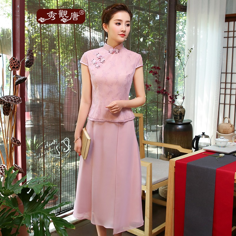 Pretty Lace Short Qipao Cheongsam Shirt With Skirt