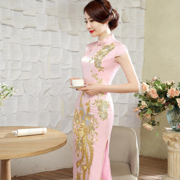 Impressive Phoenix Embroidery Qipao Cheongsam Dress - Pink