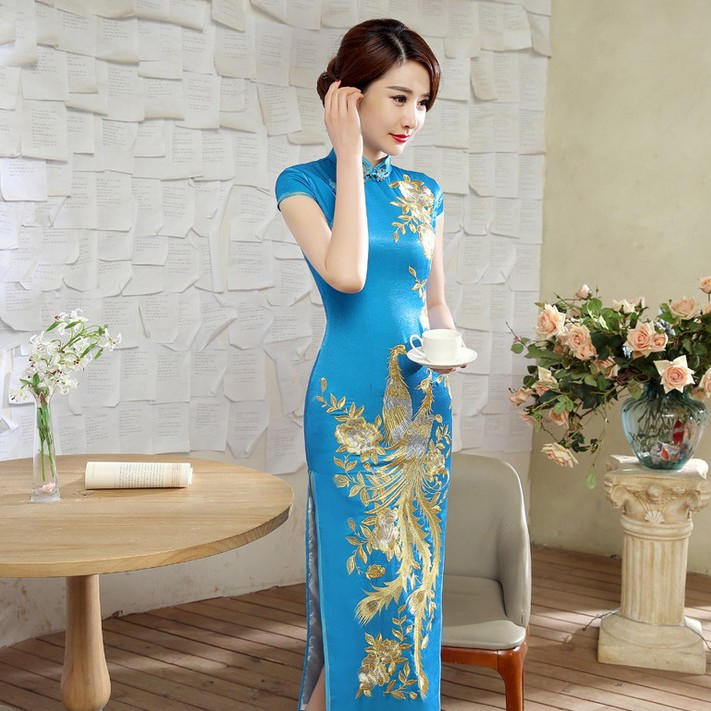 Impressive Phoenix Embroidery Qipao Cheongsam Dress - Blue