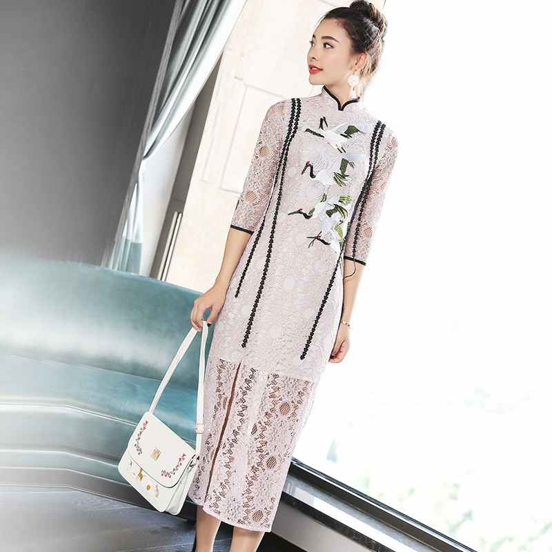 Red-crowned Crane Embroidery Lace Qipao Cheongsam Dress