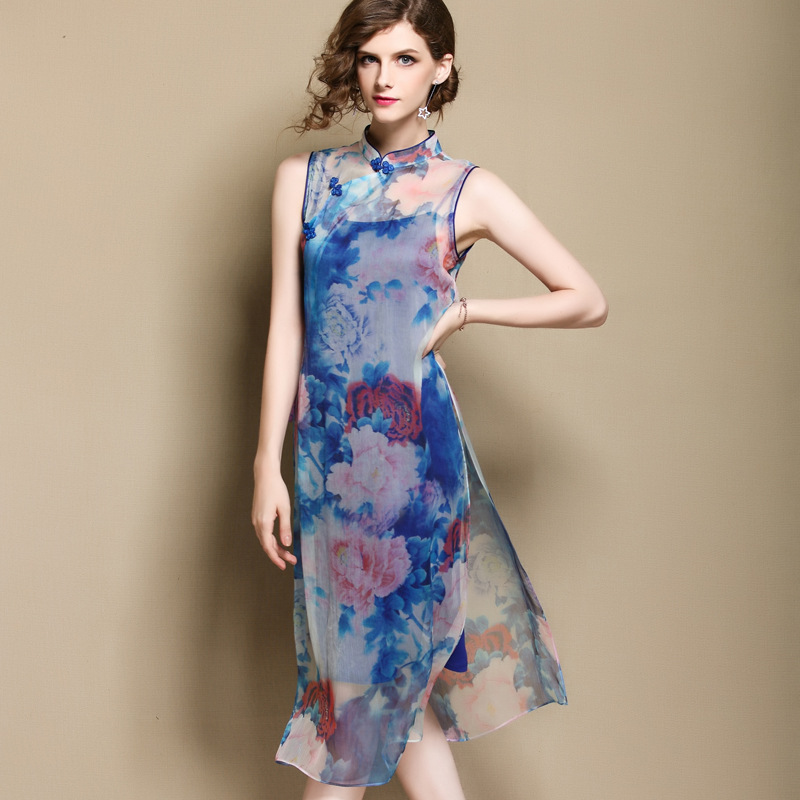 Modern Sleeveless Thin Silk Qipacao Cheongsam Dress