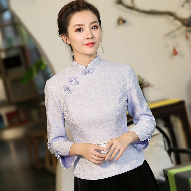Excellent Jacquard Chinese Cheongsam Qipao Shirt