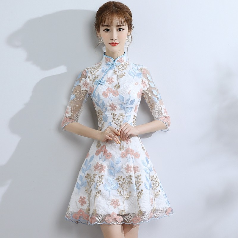 Fetching Embroidery Qipao Cheongsam Dress - A-Line