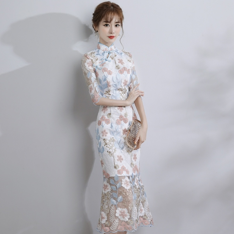 Fetching Embroidery Qipao Cheongsam Dress - Fishtail
