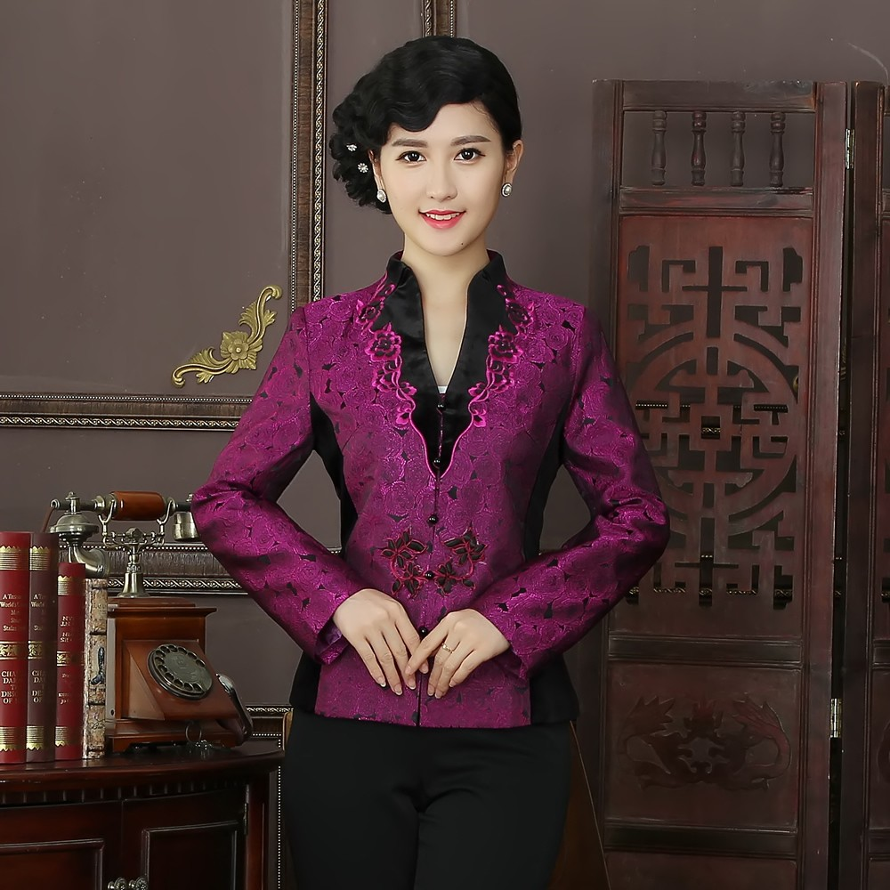 Winsome Embroidery Open Neck Frog Button Chinese Jacket
