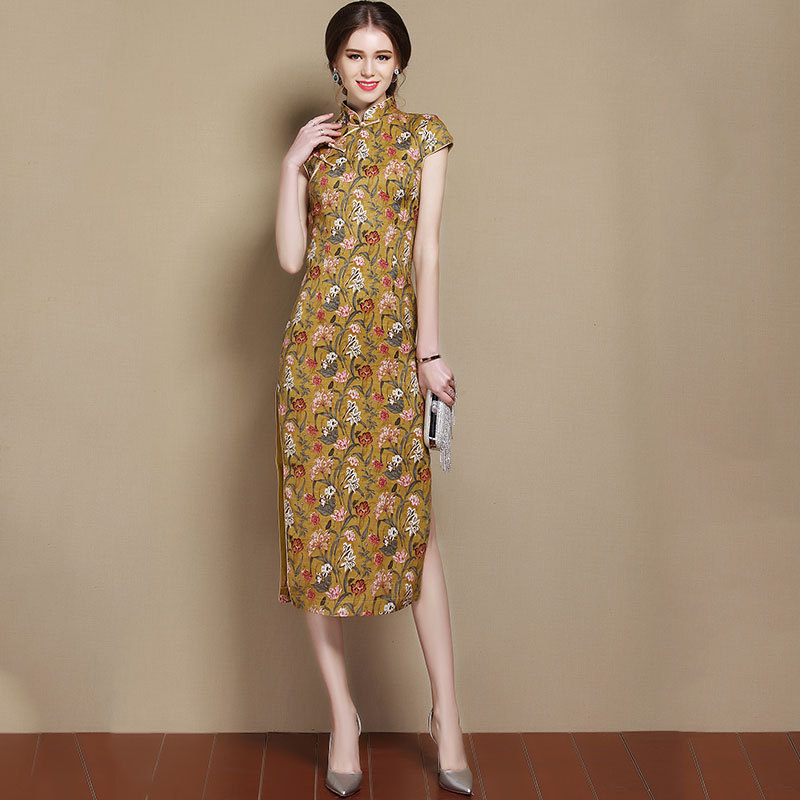 Pretty Floral Print Chinese Dress Qipao Cheongsam
