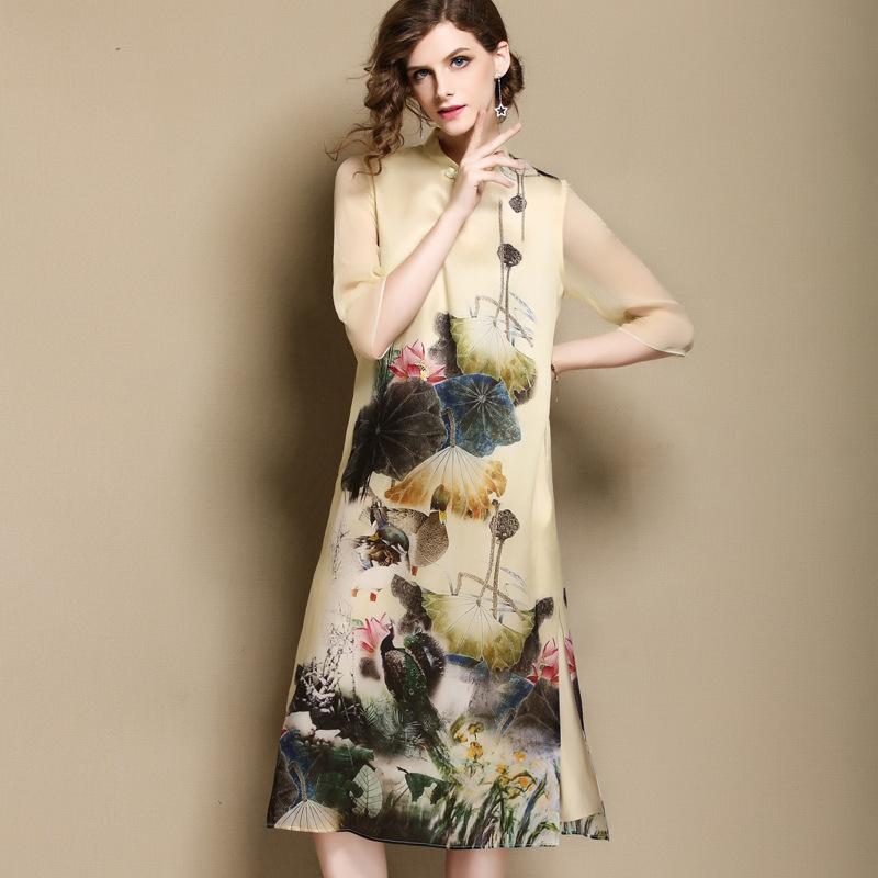 Grand Floral Print Silk Cheongsam Qipao A-line Dress