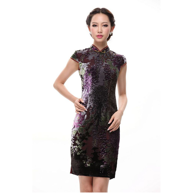 Charming Flocked Velvet Short Cheongsam Qipao Dress