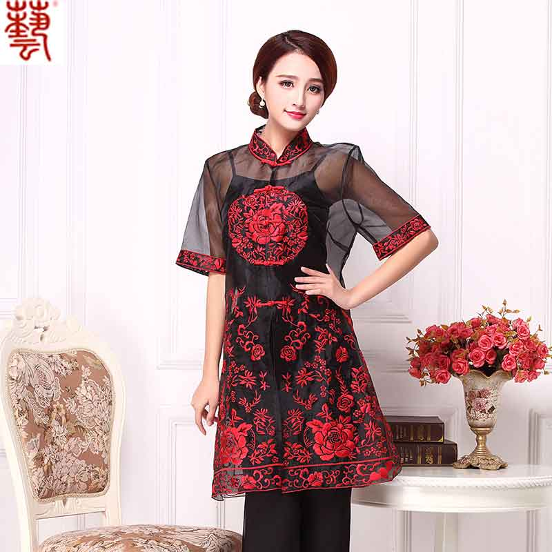 Fetching Embroidery Organza Chinese Blouse - Red