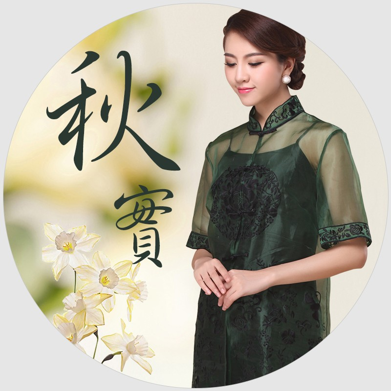 Fetching Embroidery Organza Chinese Blouse - Green