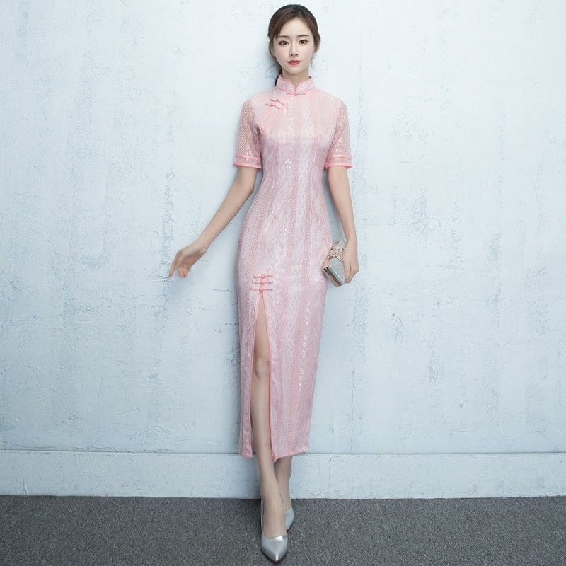 Fantastic Lace Long Chinese Dress Qipao Cheongsam