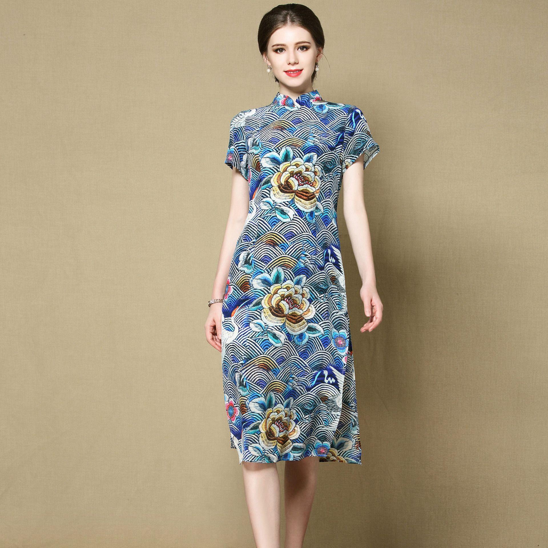 Engaging Floral Print Silk Cheongsam Qipao Dress