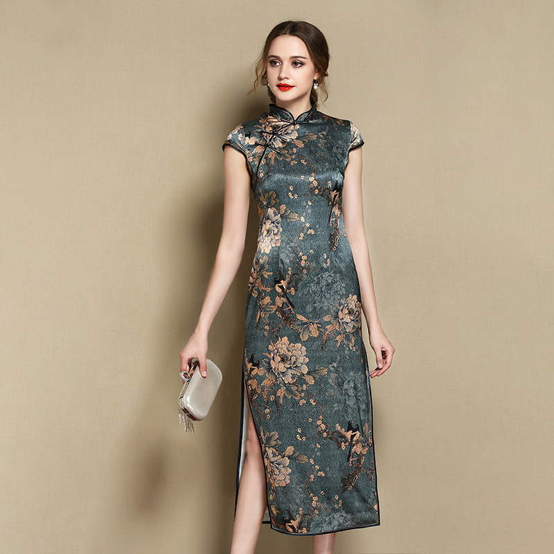 Pretty Floral Print Silk Qipao Cheongsam Chinese Dress