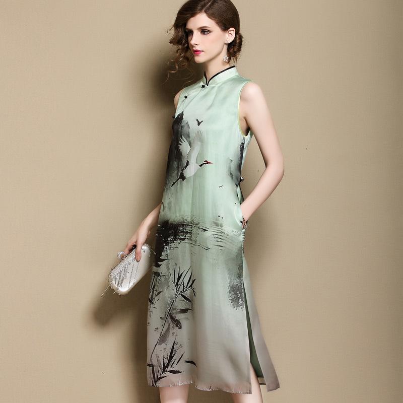 Gorgeous Landscape Silk Sleeveless Cheongsam Qipao Dress