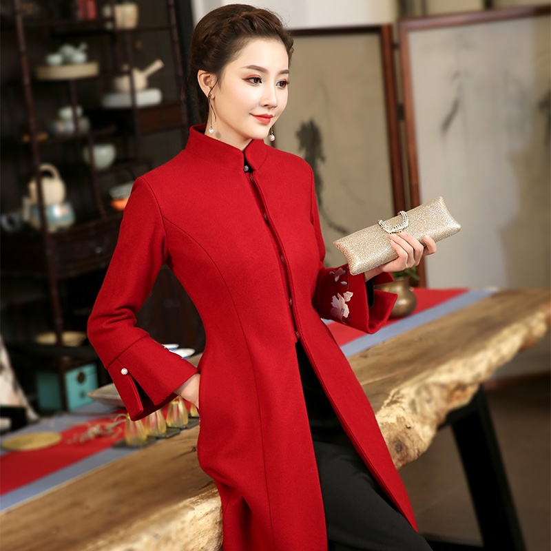 Gorgeous Red Stand-up Collar Bell Sleeve Long Coat