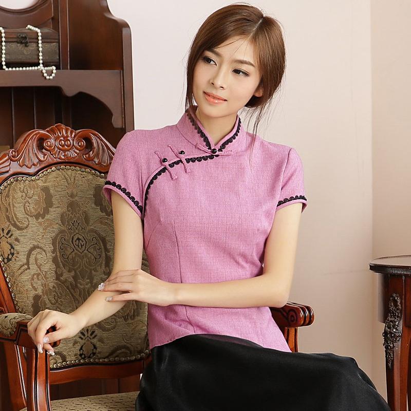 Fetching Back Zip Cheongsam Qipao Shirt - Pink