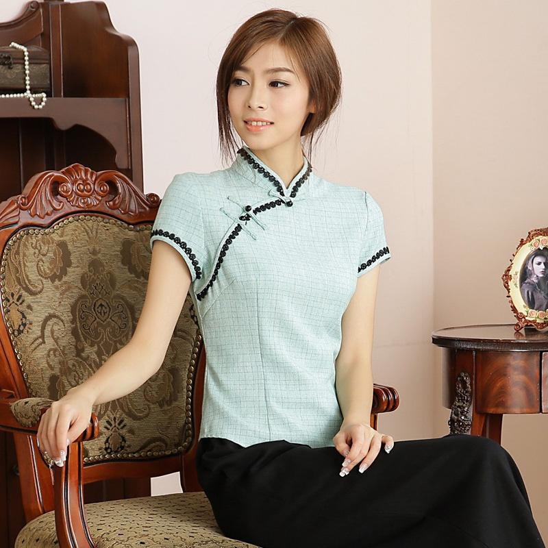 Fetching Back Zip Cheongsam Qipao Shirt - Green