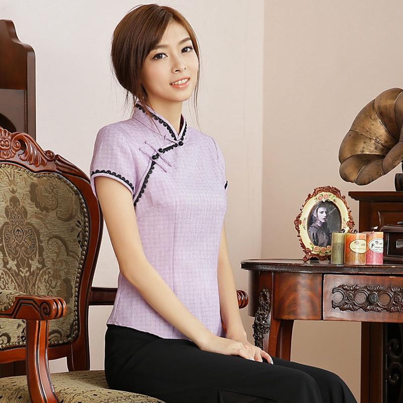 Fetching Back Zip Cheongsam Qipao Shirt - Purple