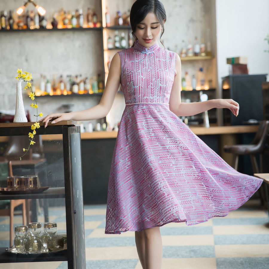 Sweet Purple Pattern Qipao Cheongsam Style Dress