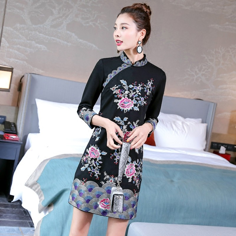 Magnificent Embroidery Qipao Cheongsam Chinese Dress