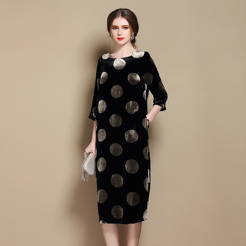 Lovely Polka Dot Silk Flocked Velvet Scoop Neck Dress
