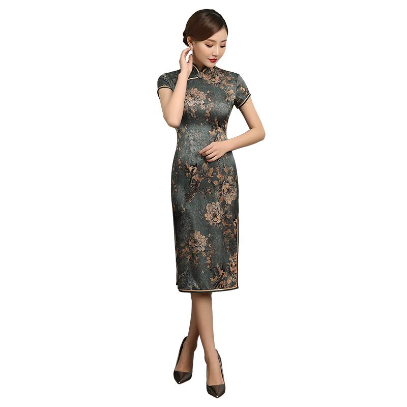 Artistic Floral Print Silk Cheongsam Qipao Dress