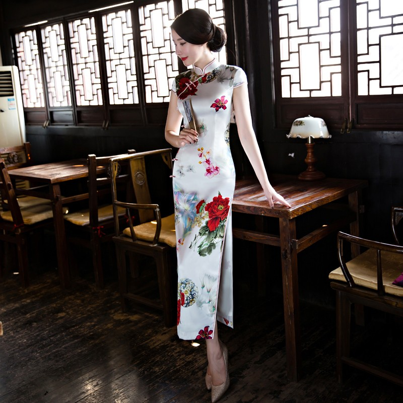 Spectacular Floral Print Silk Cheongsam Qipao Dress