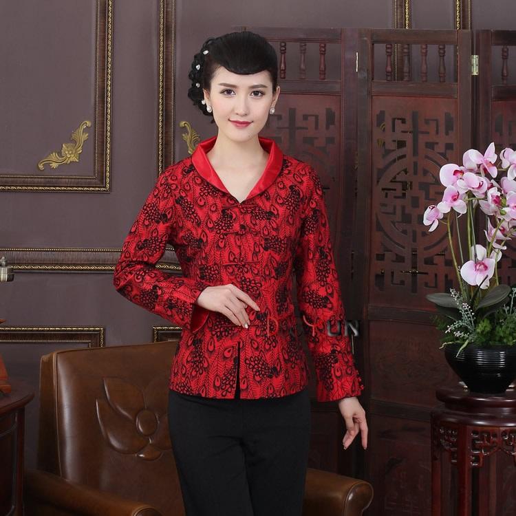 Pretty Open Neck Mandarin Collar Chinese Jacket - Feather