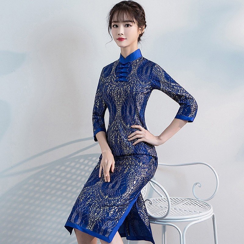Appealing Lace Cheongsam Qipao Chinese Dress - Blue