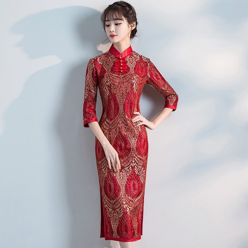 Appealing Lace Cheongsam Qipao Chinese Dress - Red