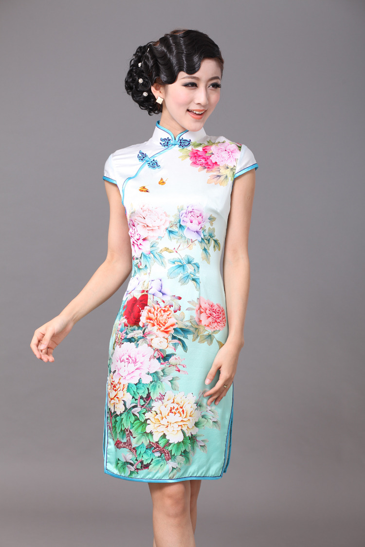 Impressive Peony Flowers Silk Cheongsam - Green