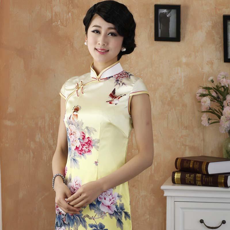 Impressive Peony Flowers Silk Cheongsam - Yellow