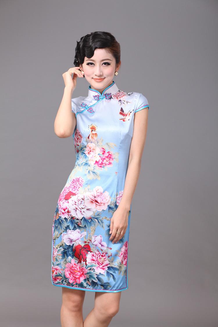 Impressive Peony Flowers Silk Cheongsam - Blue