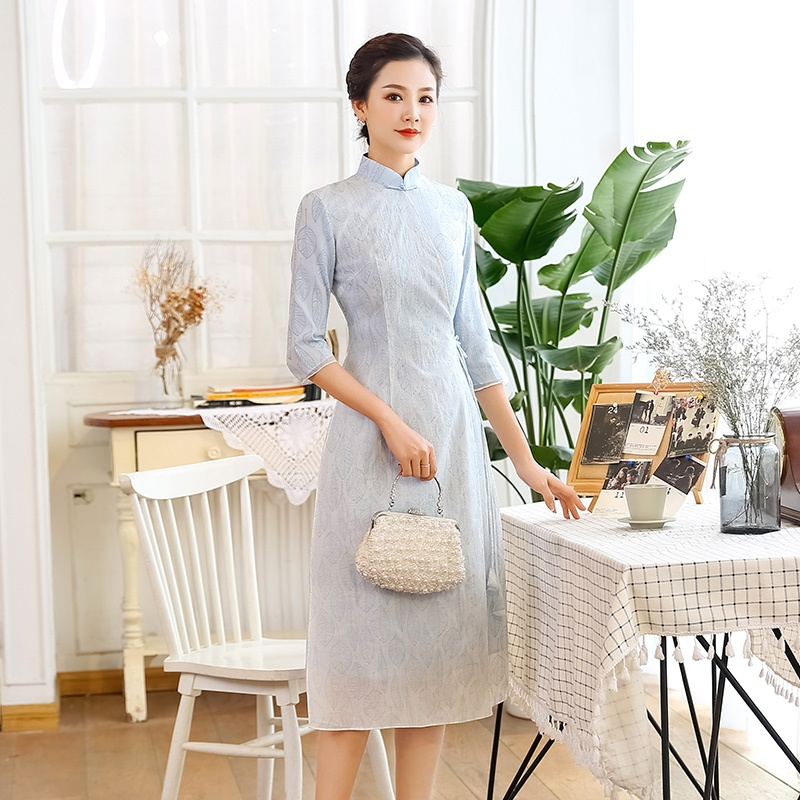 Elegant Modern Back Zip Qipao Cheongsam Dress