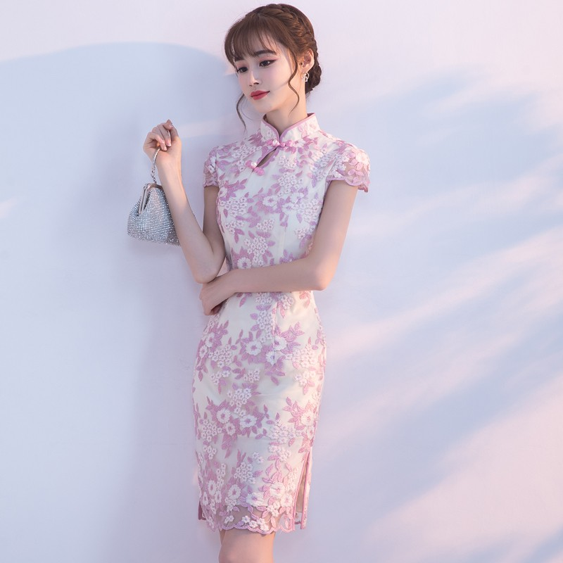 Lovely Floral Lace Qipao Cheongsam Dress - Purple