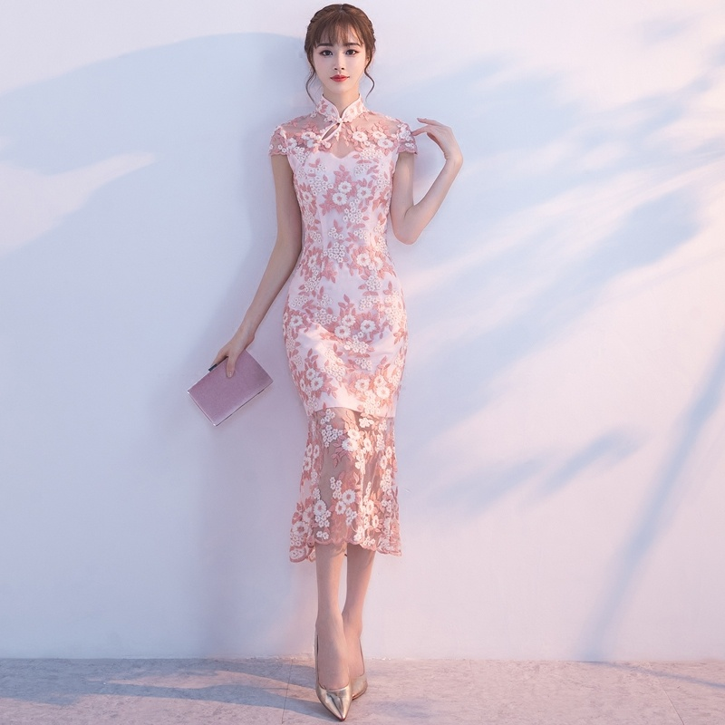 Excellent Floral Lace Qipao Cheongsam Fishtail Dress