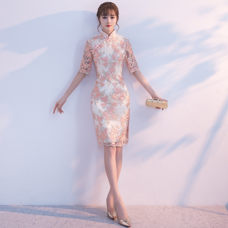 Attractive Floral Lace Chinese Dress Qipao Cheongsam