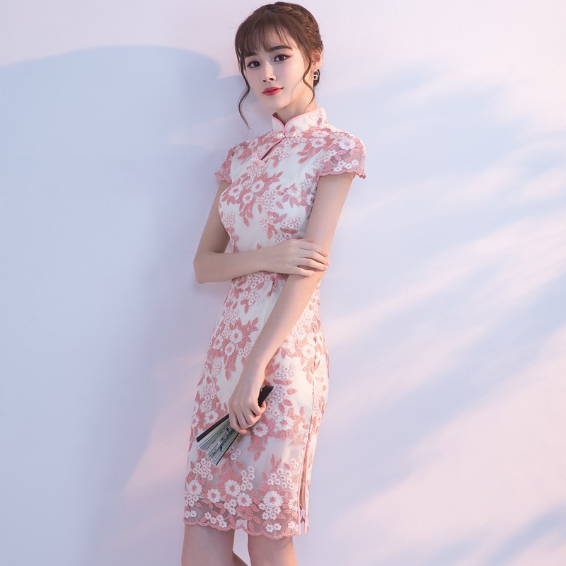 Lovely Floral Lace Qipao Cheongsam Dress - Pink