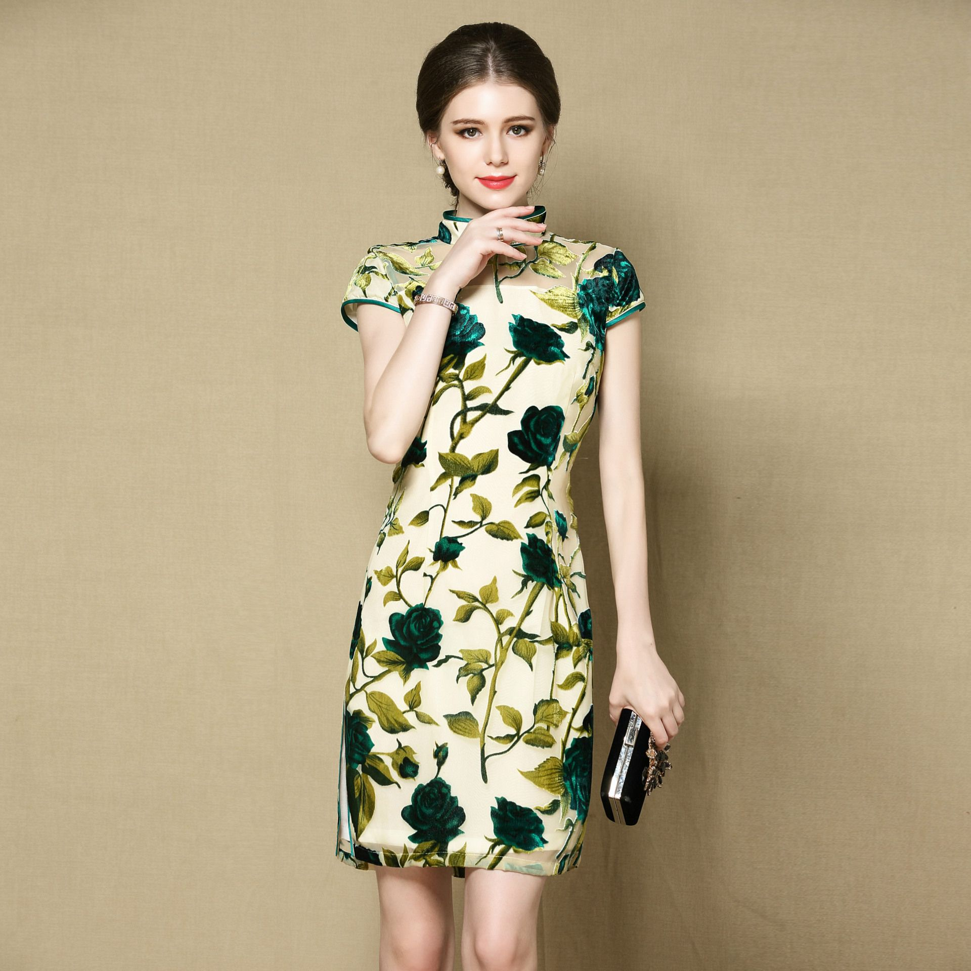Rose Flowers Flocked Velvet Qipao Cheongsam Dress - Green