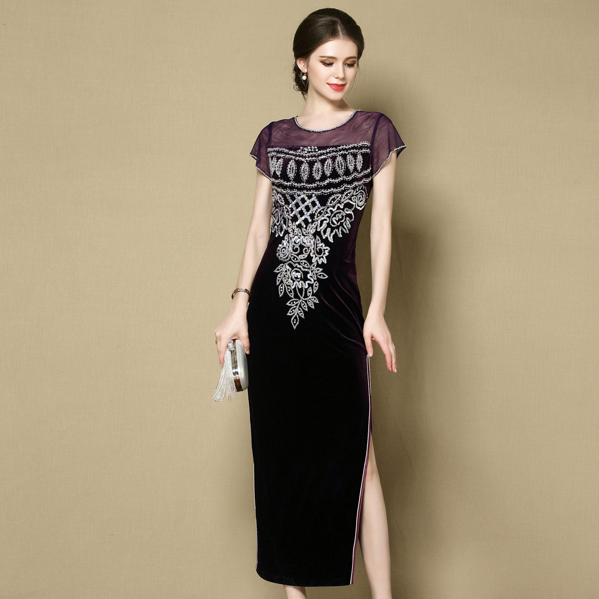 Pretty Stitching Velvet Qipao Cheongsam Dress