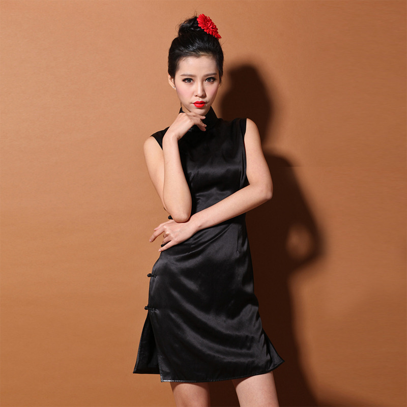 d5e18cab751f7 Custom Made Sleeveless Black Silk Cheongsam Qipao Dress - Qipao ...