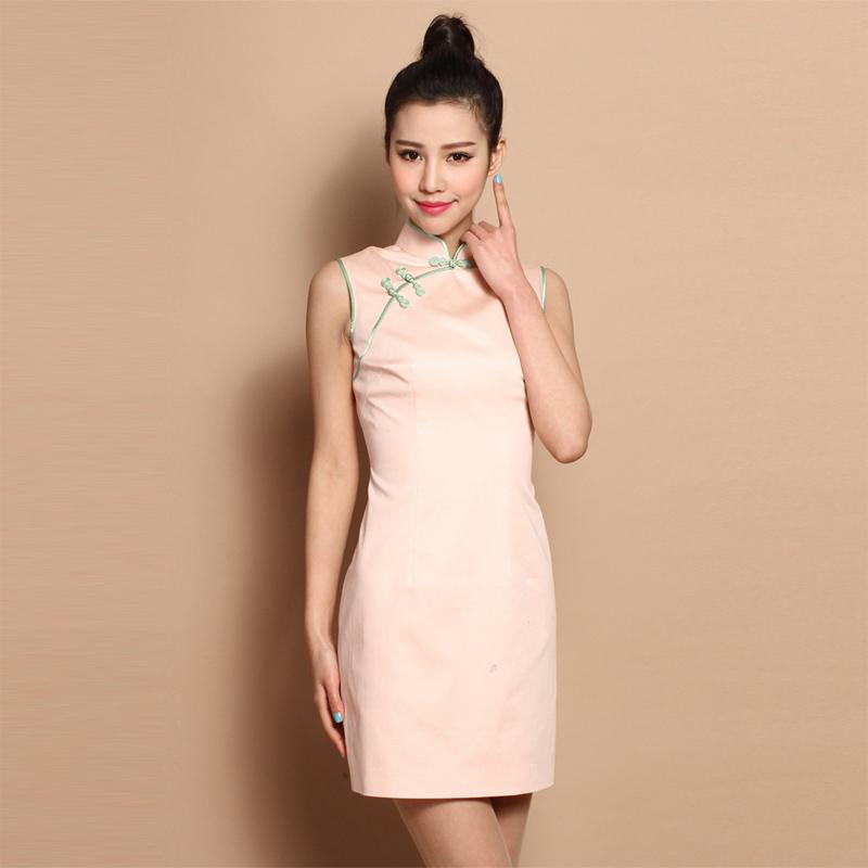 d30f43e1412b6 Custom Made Light Pink Sleeveless Short Cheongsam Qipao Dress ...