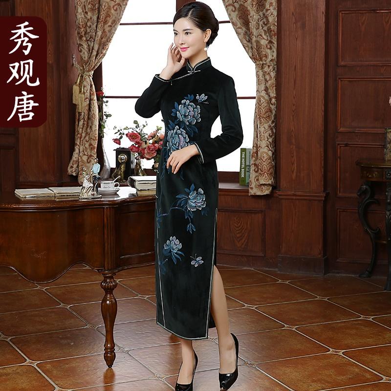 Grand Peony Flower Print Chinese Dress Qipao Cheongsam
